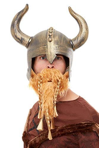 Smiffys Viking Helmet Casco, color dorado, (50730)