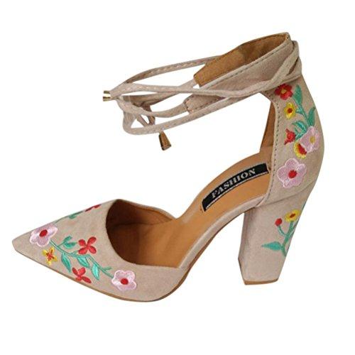 OYSOHE Damen High Heels, Frauen Wildflower Stickerei mit Crude High Heels Spitz Schuhe Wildleder Absatzschuhe