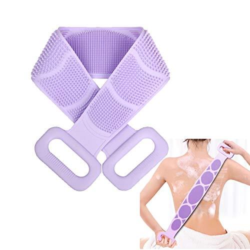 Cepillo de silicona para espalda Cepillo de baño para el cuerpo: Nueva versión 2020 Limpiador de espalda Exfoliante de ducha para masaje de espalda, silicona de doble cara alargadora(púrpura)