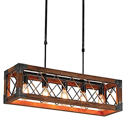 Wooden Kitchen Island Pendant Light, 5-Light Industrial Metal Rectangle Chandelier, Black Brush Metal Finish Rustic Wood Chandelier, Wood Vintage Ceiling Lighting Fixture (300W Max, Bulb not Included)