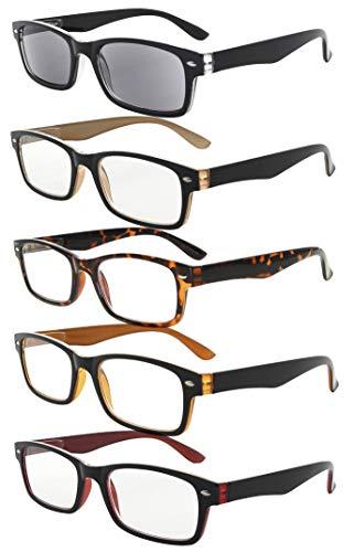 5er pack Kunststoff Fassung Lesebrille mit Federscharniere in Sonneschützt Gläsern + 2.00