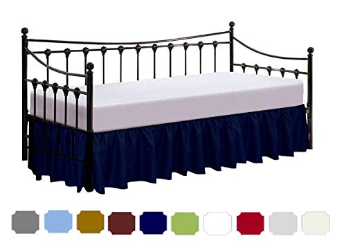 COTTINGOS Day Bed Skirt with Split Corners - Ruffled Gathered Bed Skirt for Day Bed - Three Side Coverage - Brushed Microfiber - Navy Blue Solid - Twin Size (39' X 75') Inch / 10 Inch Drop