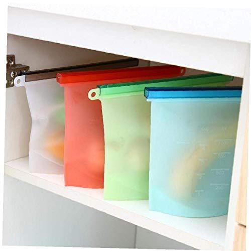 LAVALINK Bolsas De Almacenamiento De Alimentos Bags1000ml Reutilizable De Silicona Food Eco Friendly Conveniencia para Almuerzo Merienda De Frutas Verduras Pet Food Radom Color