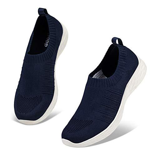 Kyopp Damen Turnschuhe Atmungsaktiv Leichte Sportschuhe Sneaker für Fitness Gym Outdoor Walkingschuhe Freizeitschuhe Laufschuhe(2 Dunkelblau 39EU)