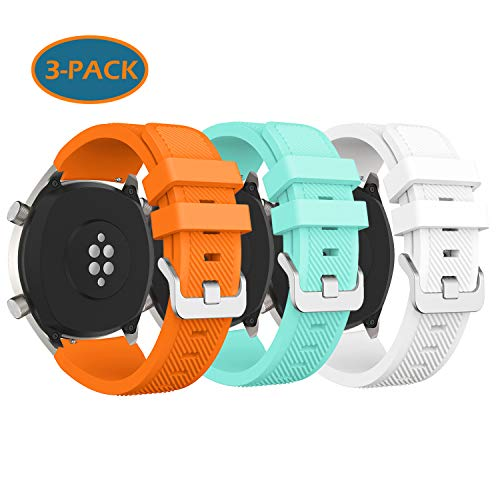 Fit for Huawei GT Watch Band/Samsung Galaxy Watch 46mm/ Gear S3 Bands, 22mm Sport Silicone Bands Straps Bracelet Watch Band Accessory Band for Galaxy S4 46mm Watch/Gear S3 (Orange Green White)