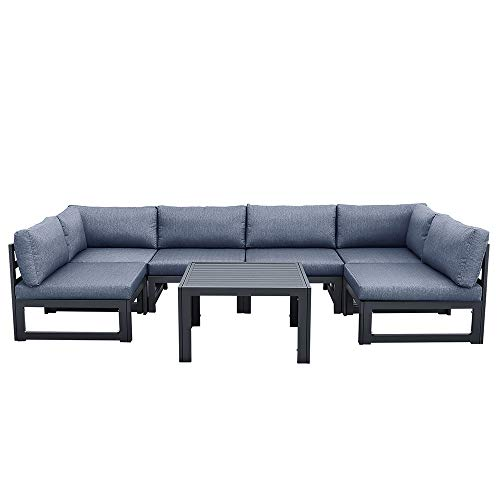 ZXHH 7 Pieces Outdoor Sofa Set with Strong Metal Frame and Comfortable Cushions, Perfect as Patio Furniture Conversation Sets, Garden Bistro Set