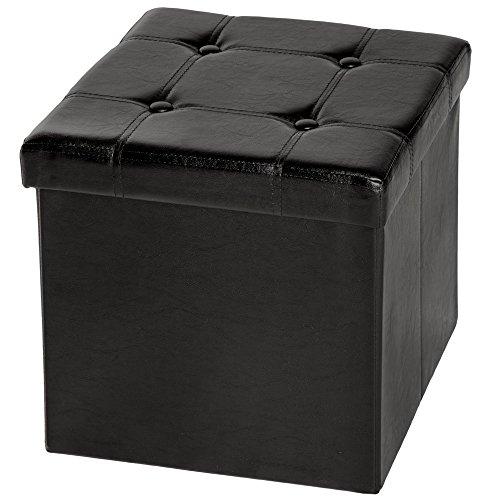 TecTake 38x38x38 cm Tabouret Pouf Cube dé Pliable Coffre Cube siège boîte de Rangement - diverses Couleurs au Choix - (Noir (No. 401472))