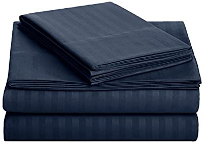 AmazonBasics Deluxe Striped Microfiber Bed Sheet Set - Queen, Navy Blue
