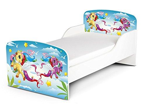 Leomark Kinderbett Funktionsbett Einzelbett mit Matratze Liegefläche 140x70 Sehr Einfache Montage Motiv: Pony