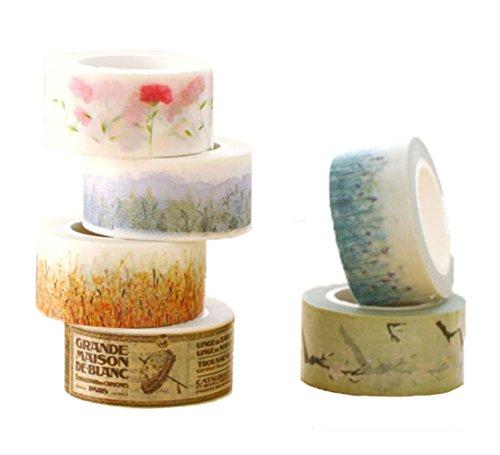 6 rollos de cinta adhesiva decorativa de 20 mm de colores/papel de estilo lindo cinta...