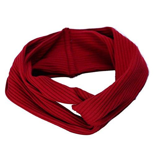 Doitsa Femmes Rayures Croix à tricoter Bande de cheveux à larges bords Bande de cheveux en tissu Bandeau de fille 1PCS -Rouge