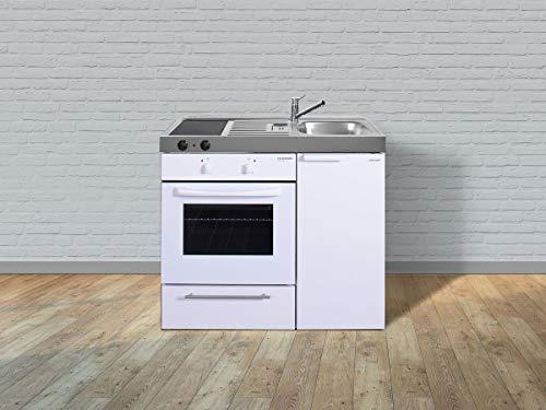 Stengel Miniküche Kitchenline MKB 100 kleine Küchenzeile mit Backofen, Pantryküche, Kompaktküche - Farbe: weiß/Breite: 100cm