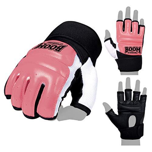 Boom Prime Pink Leder Body Combat Gel Handschuhe MMA Neopren Boxen Boxsack Kampfsport Muay Thai Grappling Training Sparring UFC Kickboxen Strike Karate Mitts S Rose