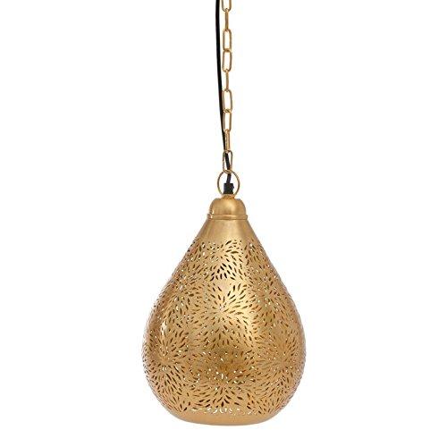 Emporio Arts EMPORIO Lumières marocain fait main antique Lampe à suspension en forme de ballon en riz Etching, fer, doré, E27, 40 Watts