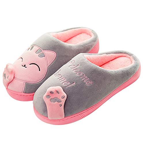 Mishansha Zapatillas De Estar por Casa para Mujer Suave Algodón Invierno Pantuflas Casa Cómodas Suave Slippers Gris Gr 37/38 EU (Tamaño del Fabricante 38/39EU)