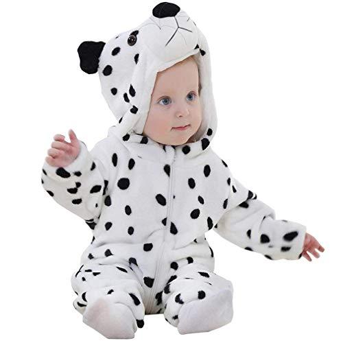 Unisex Bambino Inverno Pagliaccetto Coniglio Tigre Cucire Animale Stile Flanella Cosplay Halloween Costume Attrezzatura (80cm(6-12 Mesi), Leopardo delle Nevi)