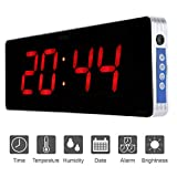 Jeffergarden Reloj Digital Pared Grande Inicio Reloj de Pared Digital Pared con Reloj Digital Reloj de Pared de Temperatura y Decoración de la Sala de Estar 110-240V (36 * 13 * 3cm-Hora + Minuto)
