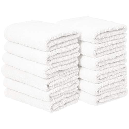 Amazon Basics Cotton Hand Towels, White - Pack of 12