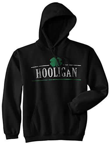 Crazy Dog T-Shirts Hooligan Shamrock Funny Saint St Patricks Day Drinking Hoodie for Paddys Day (Black) - 3XL