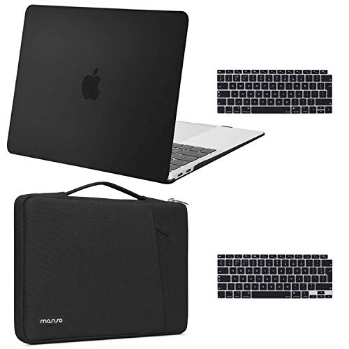 MOSISO MacBook Air 13 inch Case 2020 2019 2018 Release A2179 A1932, Plastic Hard Shell Case & 360 Protective Carrying Sleeve Bag & Keyboard Cover Compatible with MacBook Air 13 inch Retina, Black