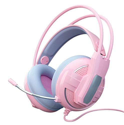 Gaming Headset, Multi funcation 7.1-Kanal-Surround-Sound-Datum Wired Headset Gamer Headset Nette PS4 Telefon PC mit Mikrofon USB Gaming Phone PS4 PC Gamer (Pink) SHIYUE