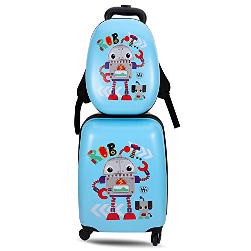 miuse 2 PCS Kids Luggage Set, ABS 13'' Backpack 18'' Suitcase Carry on Rolling Trolley Case for Boys and Girls Children School Travel(Robot)