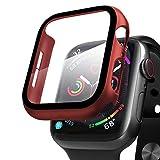 Compatibile con Apple Watch 44mm Series 5/4/6/SE Custodia+Protezione Schermo, Qianyou Case PC Protettiva in Vetro Temperato Integrata, Cover Pieno Ultra Sottile Paraurti e Screen Protector (Rossa)