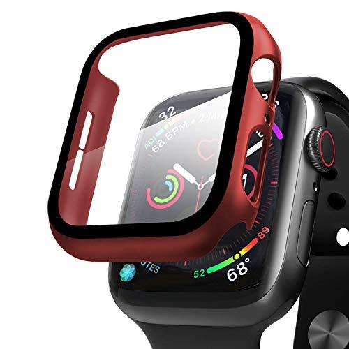 Compatible con Apple Watch 44mm Serie 6/SE/5/4 Funda+Cristal Templado, Qianyou PC Case y Vidrio Protector de Pantalla Integrados, Slim Cover de Bumper y Protector Pantalla (Roja)