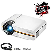 ELEPHAS LED Movie Projector, with 2018 Updated LCD Technology Support 1080P 150'' Portable Mini Projector Ideal for Home Theater Cinema Video Entertainment Games Party, White