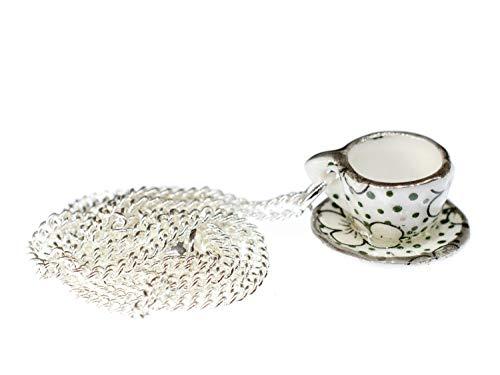 Miniblings Tasse Kette Tee Kaffee 45cm Teetasse Service Porzellan Punkte grün - Handmade Modeschmuck - Gliederkette versilbert