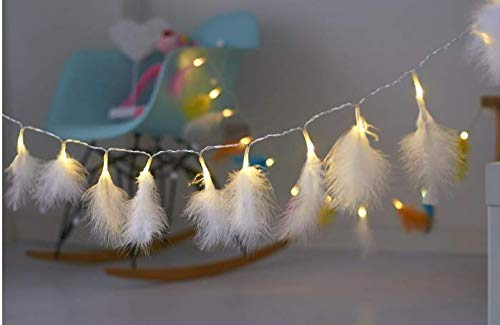 FLCSIed 3 AA Batteries Powered Feather String Lights with 20 LED Warm White Light (White String Lights)