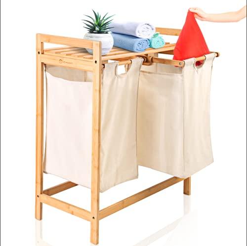 HEIMWERT Wäschekorb Holz Wäschesammler Bambus - Für ein schönes Zimmer und perfekte Ordnung - Aufbewahrungskorb Regal Korb laundry baskets ausziehbarer Wäschekorb mit...