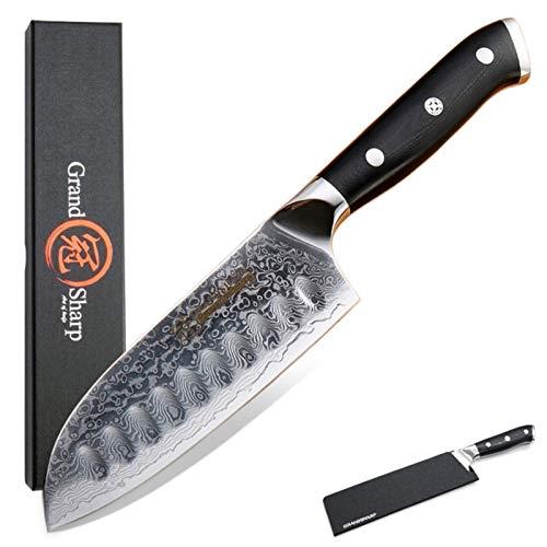 5 pulgadas Santoku Cuchillo VG10 japonés Damasco acero inoxidable 67 capas japonés damasco cuchillos de cocina conjunto de cuchillos profesionales cuchillos de cocina bloques de bloques cuchillos de c