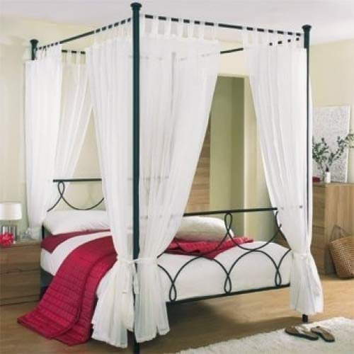 79413b468be93 Tab Top Voile 4 Poster Bed Curtain Set. Includes 8 Voile Panels And 4 Tie  Backs. Set in White.  Amazon.co.uk  Kitchen   Home