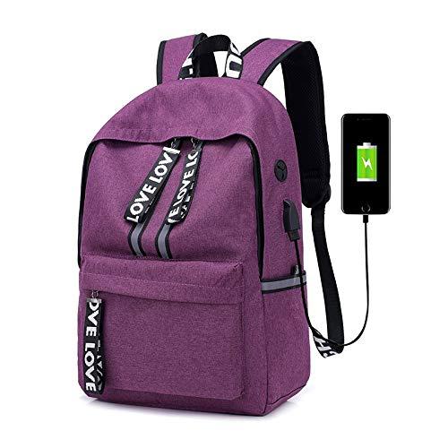 メンズカジュアルコンピュータのUSB学生のバックパック レジャー旅行 (Color : Purple, Size : 15 inch)