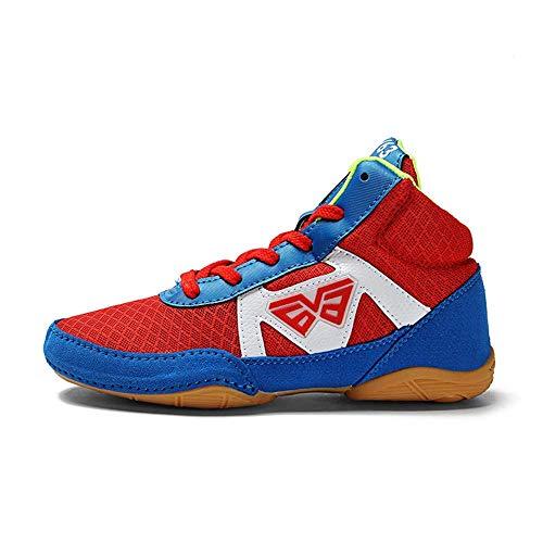 JJK Unisex Wrestling Schuhe, Breathable Leichte Boxerstiefel Gummi-Sohle Training Sport No-Slip-Box Sneakers Für Herren Damen Kinder Kinder Jugendliche,Rot,32