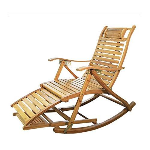 MNBV Silla de patio reclinable de bambú plegable mecedora de gravedad cero – Silla de salón para balcón, respaldo ajustable, silla para ancianos, tumbona portátil al aire libre (color A)