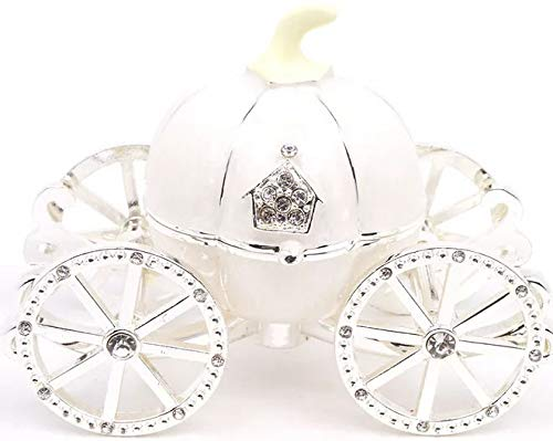 VI N VI White Princess Cinderella Crystal Pumpkin Carriage Trinket Box, Jewelry Box // Hand Painted Collectible Figurine and Decorative Jewelry Display, Holder, and Organizer