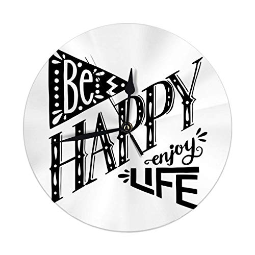 Meili Shop Moderne Wanduhr groß Sei glücklich Genieße das Leben Zitat Große runde Uhren
