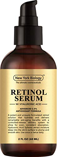 New York Biology Super Retinol Serum 2.5% with Hyaluronic Acid - Professional Grade Anti Aging Face Serum For Wrinkles and Fine Lines - Huge 2 oz