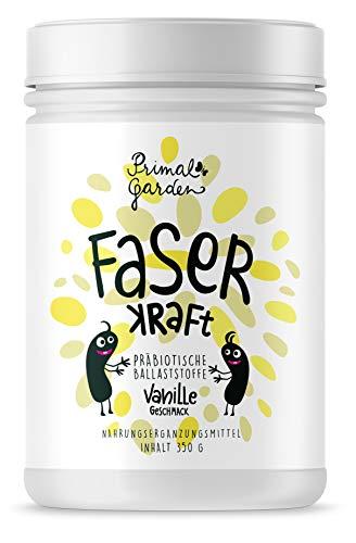 FaserKraft - Präbiotische Ballaststoffe | Darmgesundheit | Mit resistenter Stärke, Pektin, Inulin, Flohsamen, Beta Glucan und mehr! | Geschmacksrichtung Vanille | Vegan, zuckerfrei | 300g