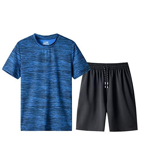 Yowablo Trainingsanzug Herren Sommer Freizeit Mode Tarndruck Kurzarm Shorts Sports Sets (XXL,1Blau)