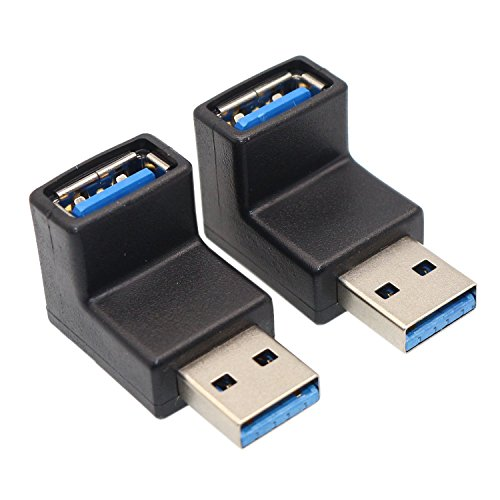 Right Angle USB Adapter, VCZHS USB3.0 AM to AF L Shape Converter Adapter USB 3.0 A Male to A Female 90 Degree Angle Plug(Pack of 2)