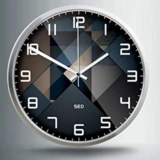 小時計ラウンドクロッククリエイティブ現代のミニマリストホームパーソナリティ時計クォーツ時計時計寝室のリビングルームの壁時計ミュート、12インチ、705ヴィンテージシルクシルバーフレーム