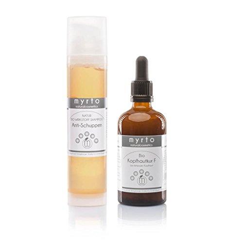 myrto – Bio Haarpflege-Set gegen fettige Schuppen und ölige Kopfhaut | Haar-Serum plus Natur-Shampoo für eine gesunde Kopfhaut und kräftiges Haar ohne Alkohol und Konservierungsstoffe