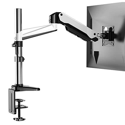 HUANUO Aluminum Monitor Halterung Höhenverstellbar, Gasdruckfeder Arm 360° Drehbar für 17 bis 32 Zoll Bildschirm, 2 Montageoptionen
