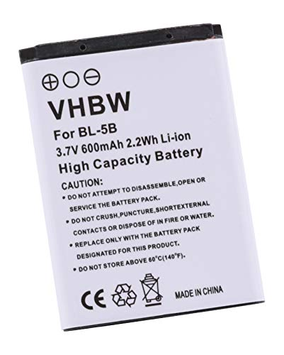 vhbw Akku passend für Nokia TOPBLUE TB-521, Vertu BL-5V, VIVITAR BLI-885, CEL10028, VIV-VB-5B Handy Smartphone Telefon (600mAh, 3.7V, Li-Ion)