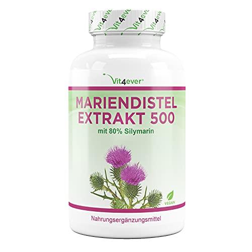Extracto de cardo mariano 180 cápsulas con 500 mg cada una - 80% de silimarina - Suministro para 6 meses - - Altamente dosificado - Vegano