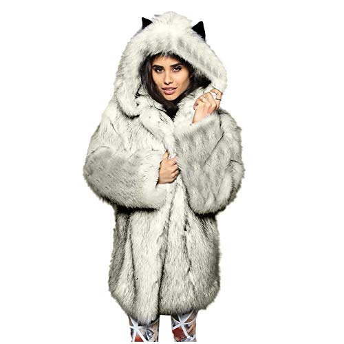 Dicomi Frauen Sweatshirt Mode Faux Hooded Warm Furry Splicing Jacke Langarm Oberbekleidung T-Shirt Tops