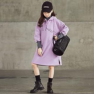 Girl Plus Velvet Thickening High Collar Hooded Mid-Length Dress High Quality (Color : Light Purple, Size : 150cm)